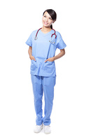 surgeon woman doctor look copy space