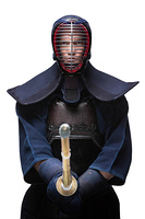 Portrait of equipped kendoka with shinai