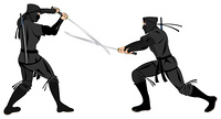 two ninjas fighting