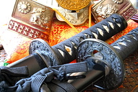 Samurai swords and helmet