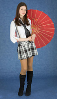 Beautiful girl stand with the Japanese umbrella