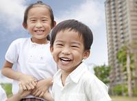 happy children in the city park