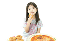 Little girl with foods