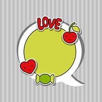Speech bubble with sticker kawaii doodles.