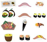 artoon Japanese food icon set