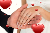 Composite image of cropped image of newly wed couple holding hands