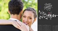 Composite image of portrait of happy bride embracing groom