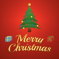 Christmas illustration - christmas tree with presents