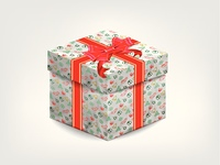 realistic gift box with red bow