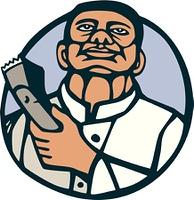 Barber Hair Clipper Scissors Circle Linocut