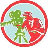 Cameraman Vintage Movie Camera Woodcut