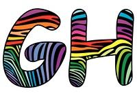 Background skin zebra shaped letter G,H