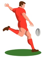 rugby player kicking ball retro