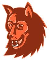 Wolf Wild Dog Head Retro