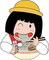 Little girl eat raman
