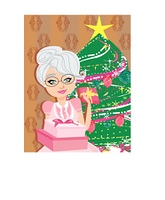 An elderly woman on the background of a Christmas tree with Christmas present in hands