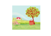 apple tree and cottage,  landscape
