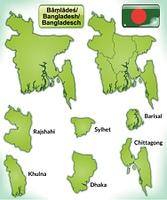 Karte von Bangladesch mit Grenzen in Grun