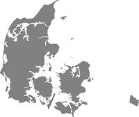 Karte von Daenemark mit Grenzen in Grau