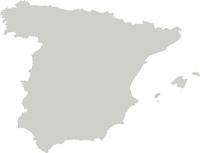 Karte von Spanien mit Grenzen in Grau