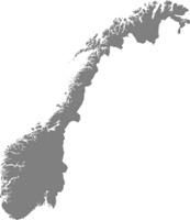 Karte von Norwegen mit Grenzen in Grau