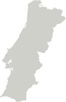 Karte von Portugal mit Grenzen in Grau