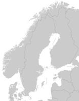 Karte von Skandinavien mit Grenzen in Grau