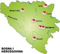 Karte von Bosnien-Herzegowina als Infografik in Grun