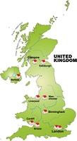Karte von England als Infografik in Grun