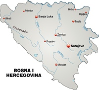 Karte von Bosnien-Herzegowina als Ubersichtskarte in Grau