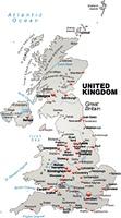 Karte von England als Ubersichtskarte in Grau