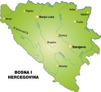 Karte von Bosnien-Herzegowina als Ubersichtskarte in Grun