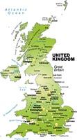 Karte von England als Ubersichtskarte in Grun
