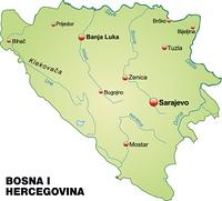 Karte von Bosnien-Herzegowina als Ubersichtskarte in Pastellgrun