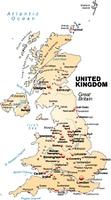 Karte von England als Ubersichtskarte in Pastellorange