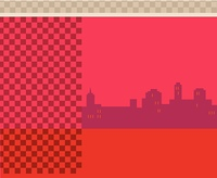 City skyline on red background
