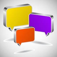Set of colourful 3D speech icons