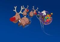 Weihnachtsmann mit Rentierschlitten