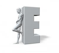 mann lehnt an E