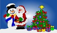 Weihnachtsmann und Schneemann am geschmuckten Baum