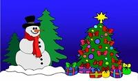 Schneemann am geschmuckten Baum