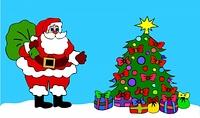 Weihnachtsmann am geschmuckten Baum