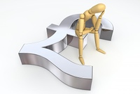 Lay Figure Sitting on Pound Sterling Symbol