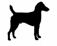 Schwarze Silhouette von einem Westfalen Terrier