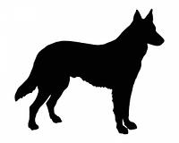 Schwarze Silhouette von einem Schaferhund