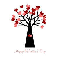Valentines Day Tree with Red and Pink Hearts