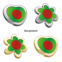 bangladesh flag in heart and flower form