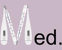 Analoges und Digitales Fieberthermometer als Buchstabe M