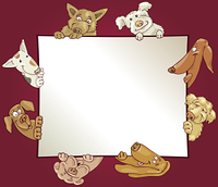 frame with dogs