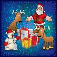 Christmas blue greeting with Santa snowman deers and gifts